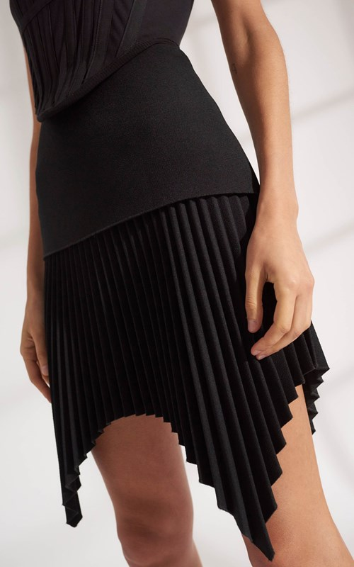 Skirts | ANGLED PLEAT MINI SKIRT