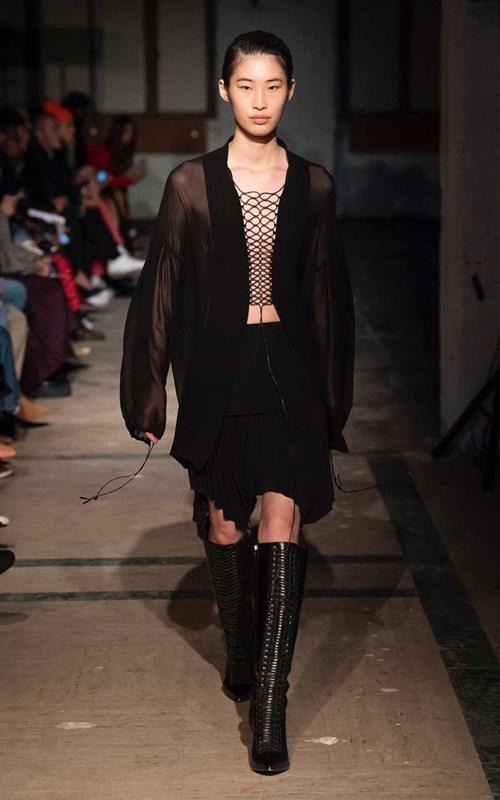 Skirts | ANGLED PLEAT MINI SKIRT