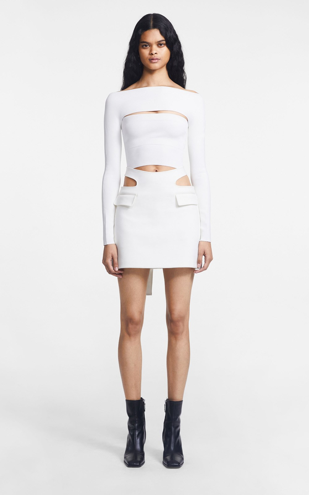 New  | Y FRONT MINI SKIRT