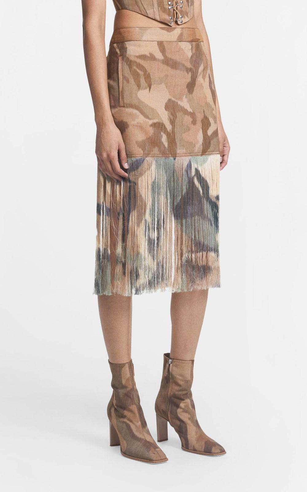Skirts | IKAT CAMO FRINGE SKIRT