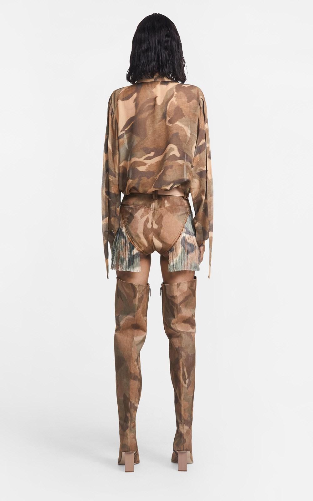 Pants | IKAT CAMO FRINGE MICRO SHORT