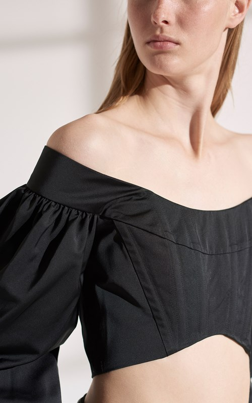 Tops | TAFFETA CONVEX BUSTIER TOP