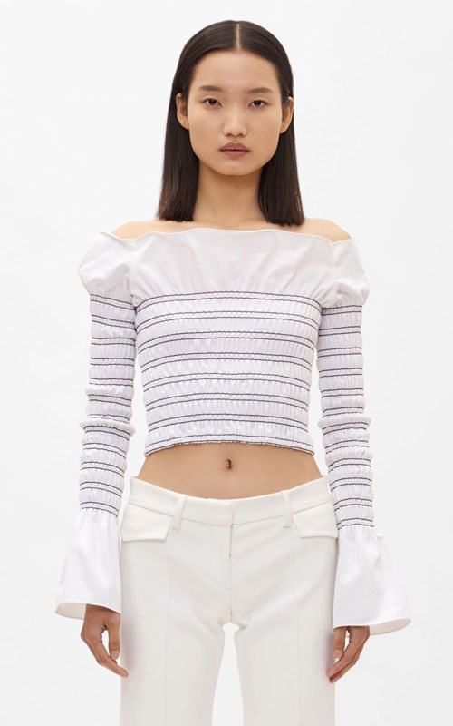 Tops | SHIRRED COTTON LONG SLEEVE TOP