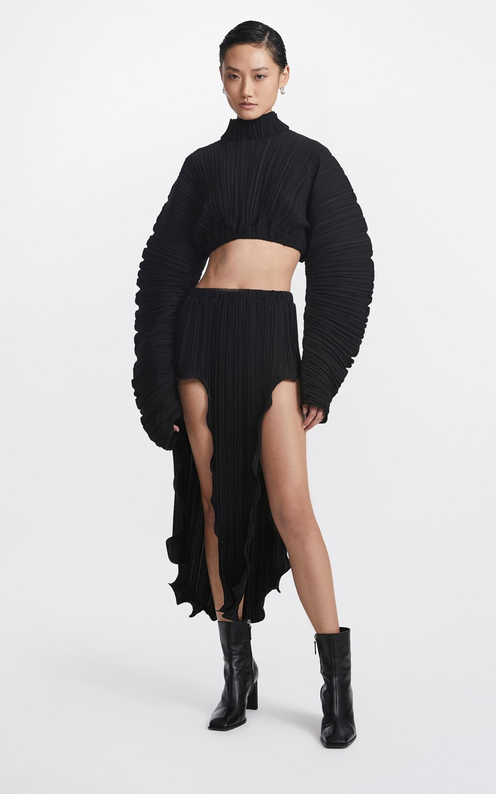 Tops   PLEATED COCOON LS TOP