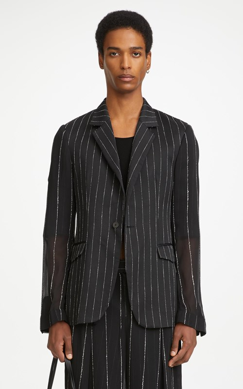 Outerwear  | CHALK STRIPE FLOAT BLAZER