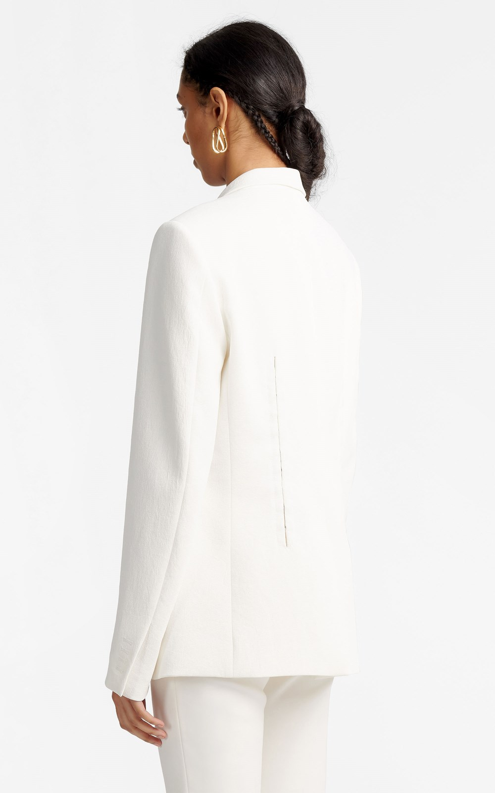 Outerwear  | HOOK & EYE WHITEWASH BLAZER