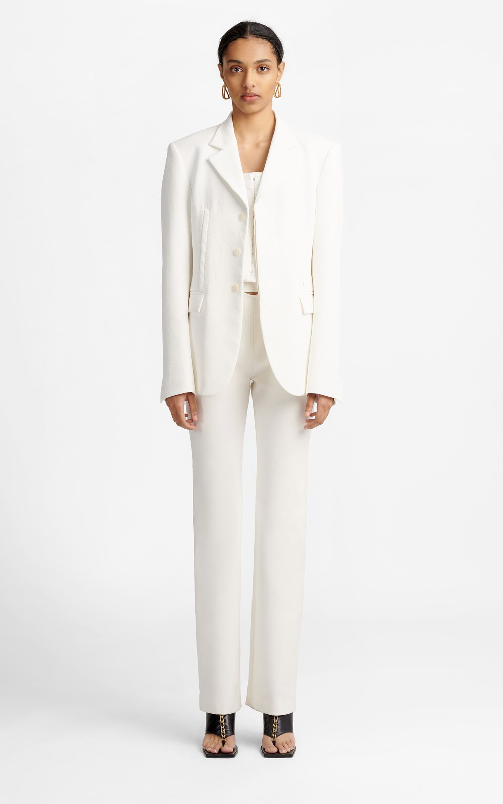 New  | HOOK & EYE WHITEWASH BLAZER