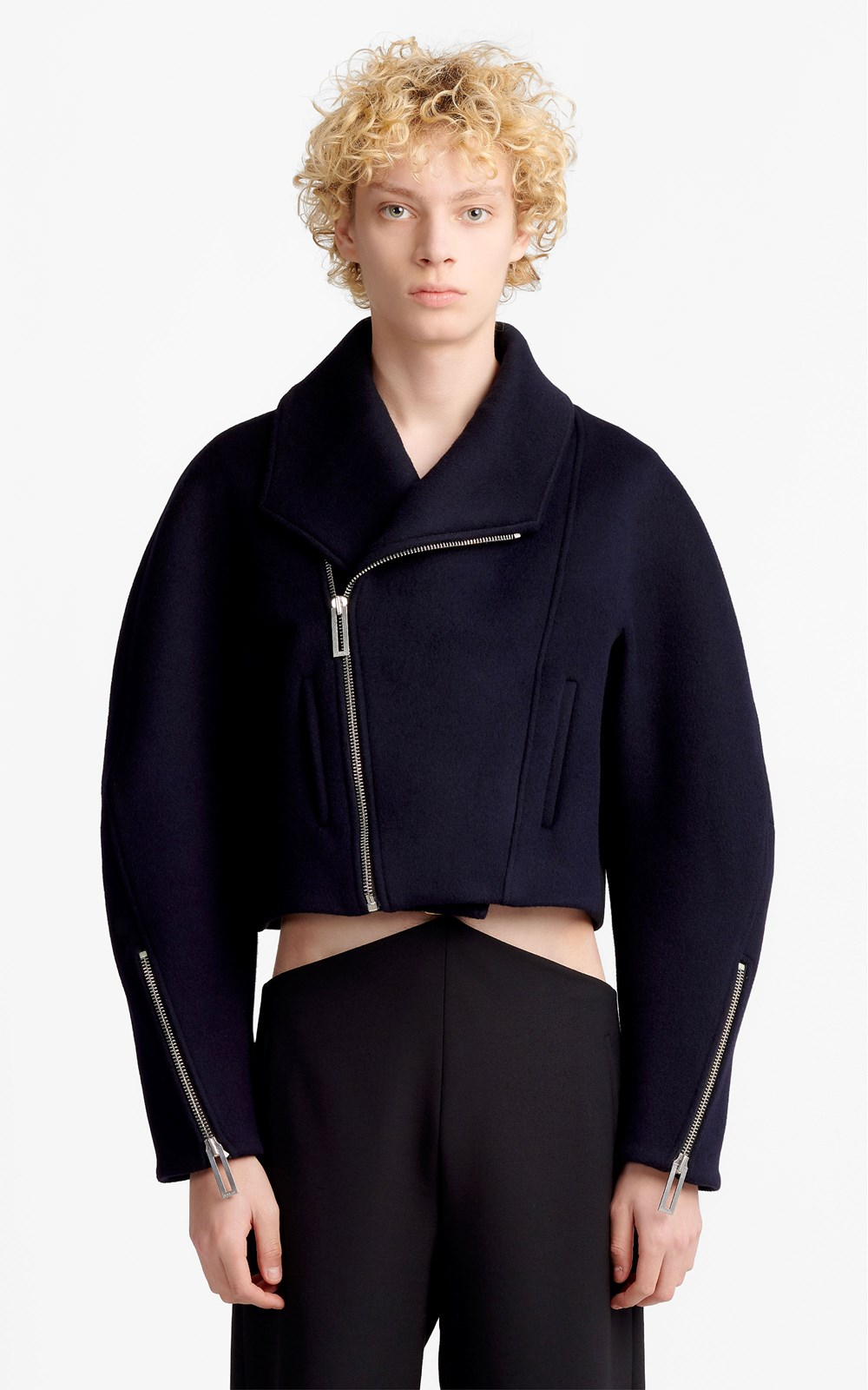 Outerwear  | CROPPED FELT BIKER COAT
