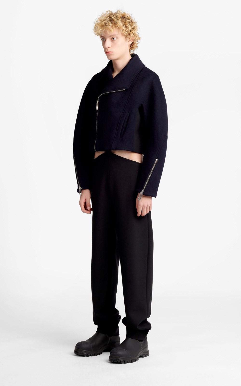 Outerwear | CROPPED FELT BIKER COAT