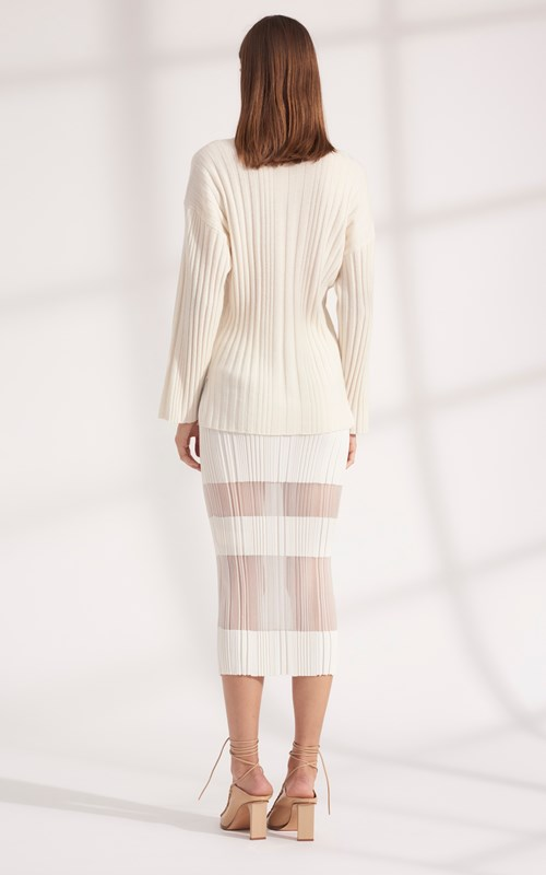 Knitwear | CORRUGATED PLEAT CASHMERE SWEATER
