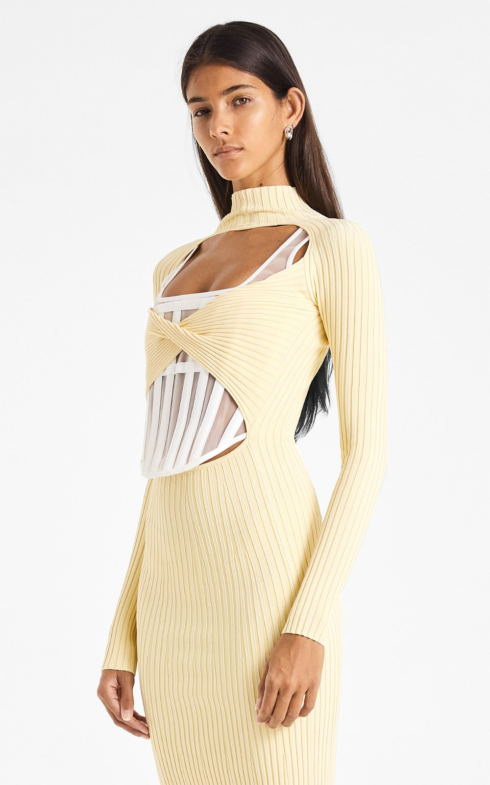 Knitwear  | STRIPE RIB TWIST DRESS