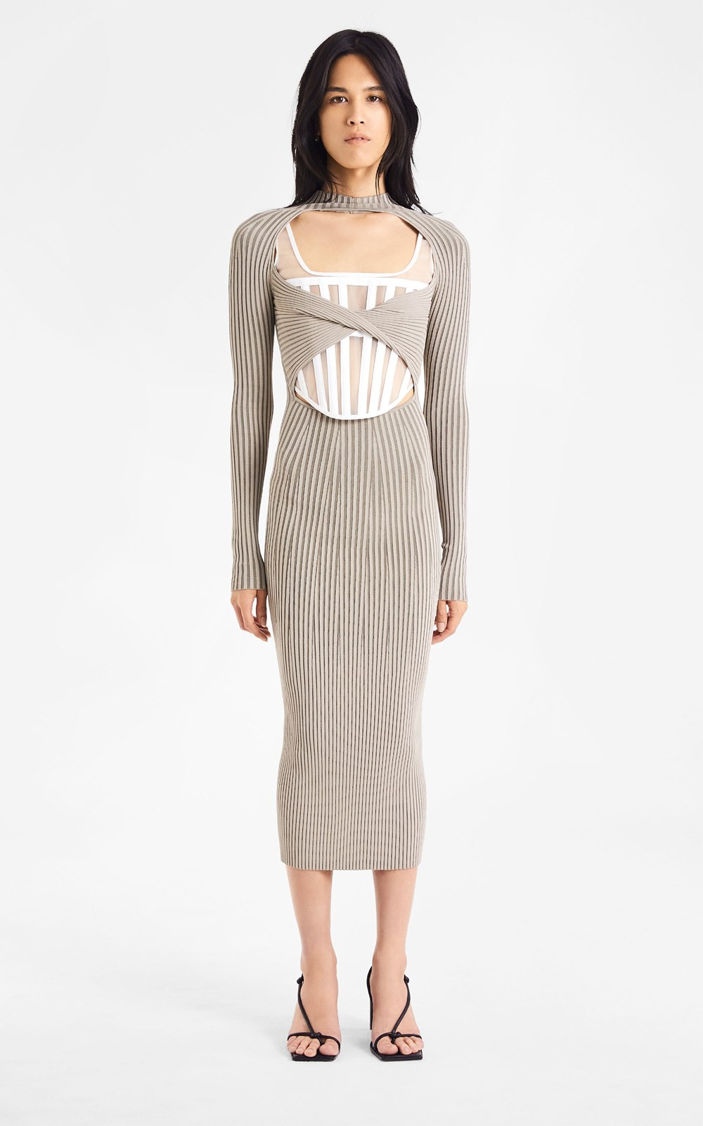 Dresses | STRIPE RIB TWIST DRESS
