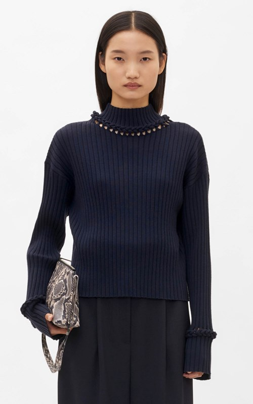 Knitwear | BRAID CUFF SWEATER
