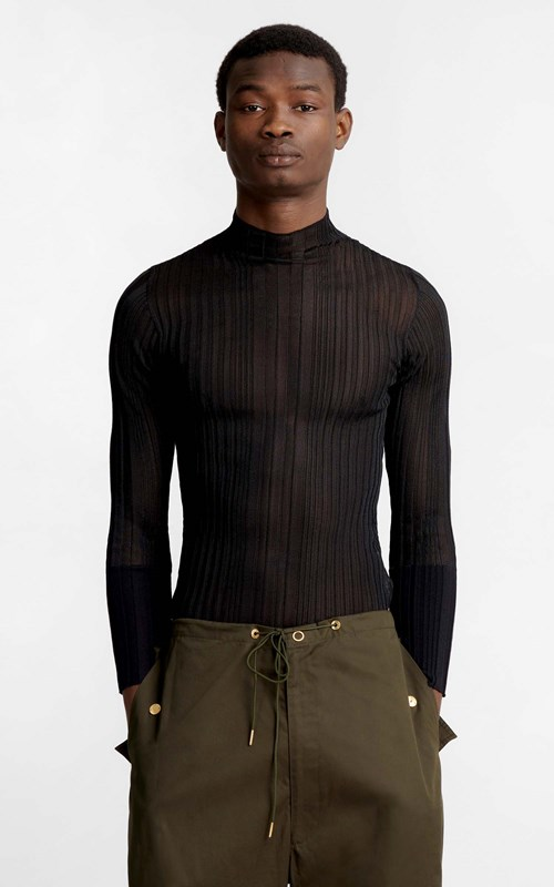 Tops | CORRUGATED SHEER LS
