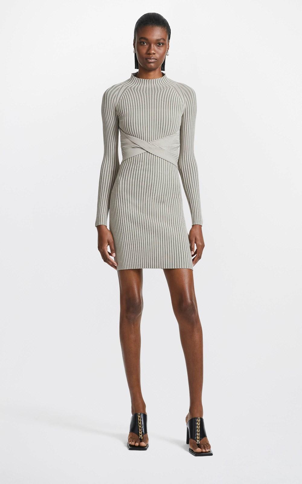 Knitwear | STRIPE RIB TWIST MINI DRESS