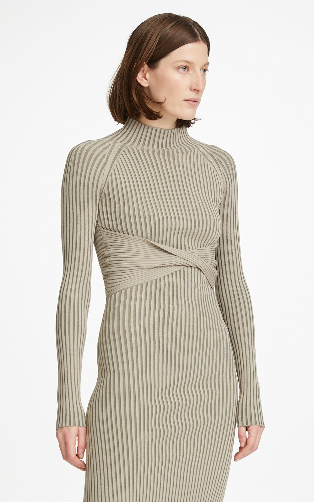 Knitwear | STRIPE RIB TWIST MINI DRESS