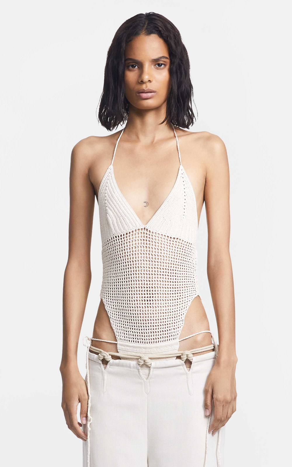 New  | CROCHET TIE BODYSUIT