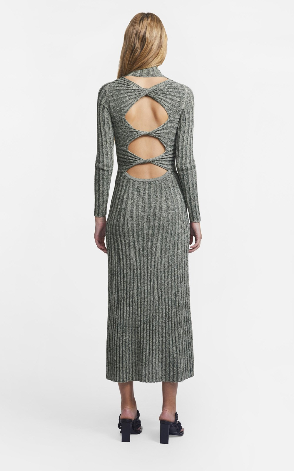 Dresses  | NATURAL STRIPE RIB LS DRESS