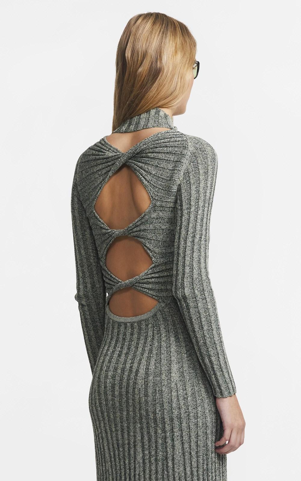 Knitwear | NATURAL STRIPE RIB LS DRESS