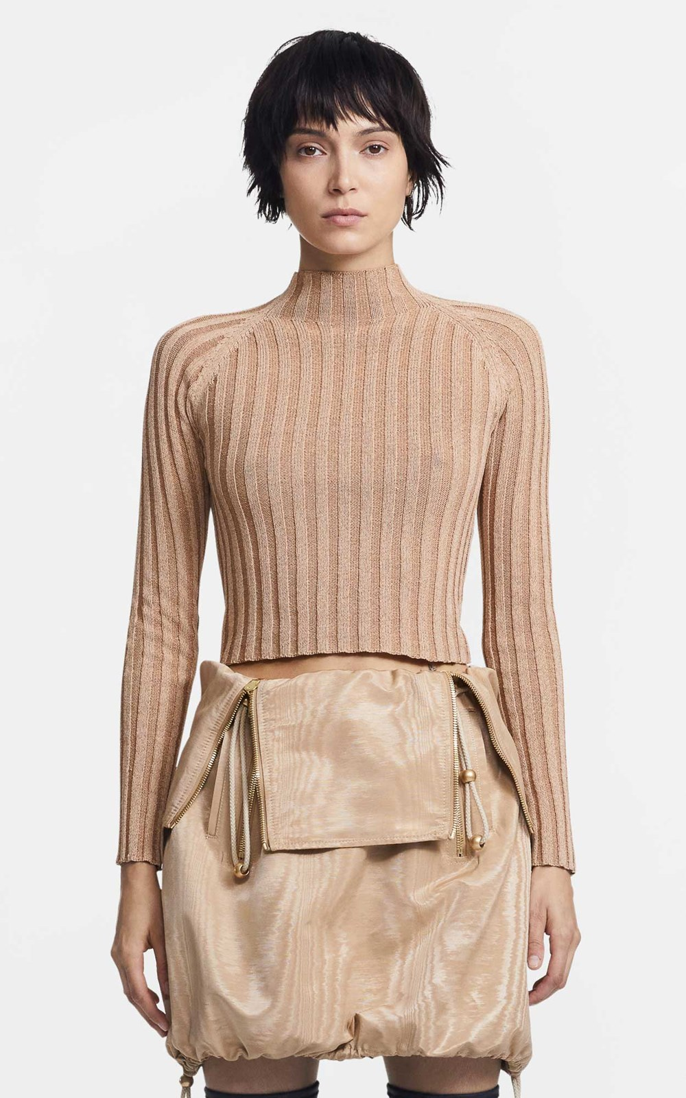 Knitwear  | NATURAL STRIPE RIB LS TOP