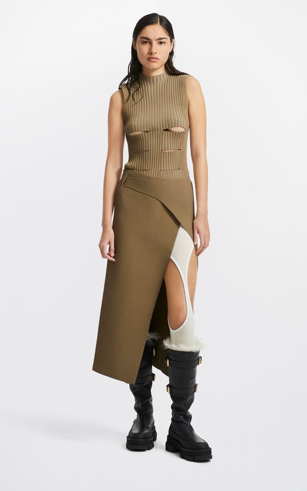 Skirts | SLASH WOVEN SKIRT