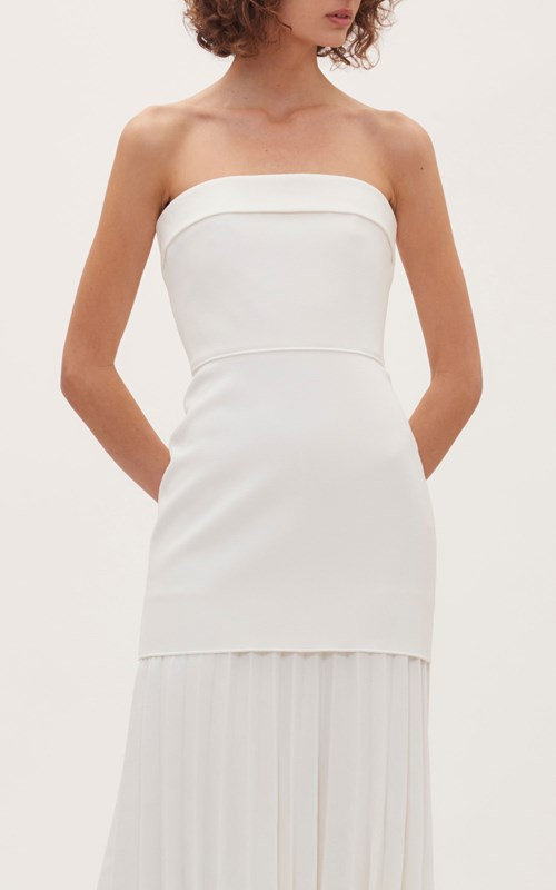Dresses  | LINEAR CREPE PLEAT STRAPLESS DRESS