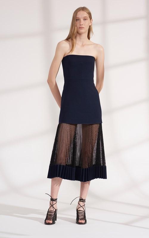 Dresses   NET PLEAT STRAPLESS DRESS