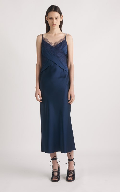 Silk Satin Lace Slip Dress By Dion Lee