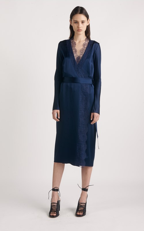 Dresses | SILK SATIN LACE LONG SLEEVE DRESS