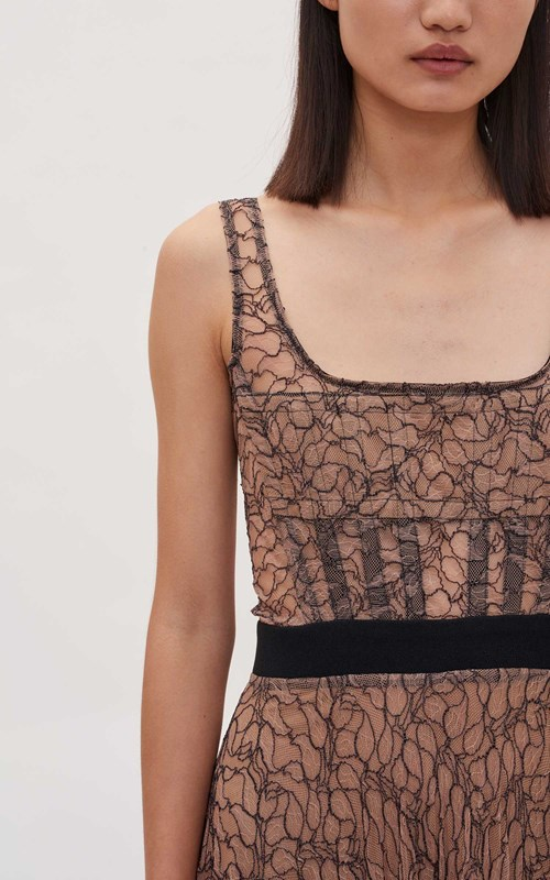 Dresses  | VEIN LACE PLEATED CORSET DRESS