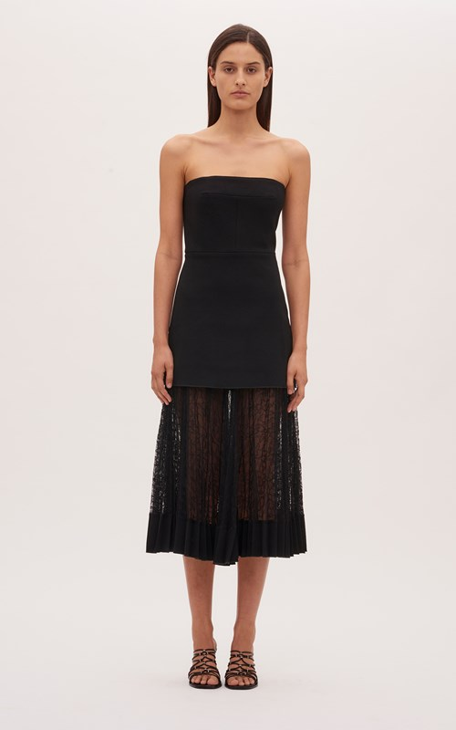Dresses | VEIN LACE PLEAT STRAPLESS DRESS