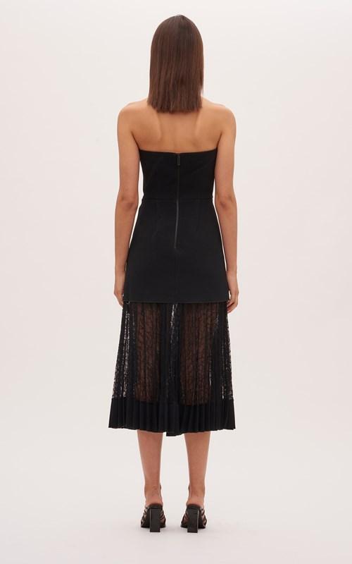 Dresses | VEIN LACE PLEAT STRAPLESS DRESS