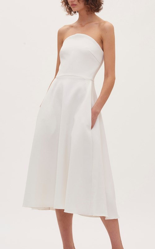 Dresses  | CONCAVE CREPE STRAPLESS DRESS