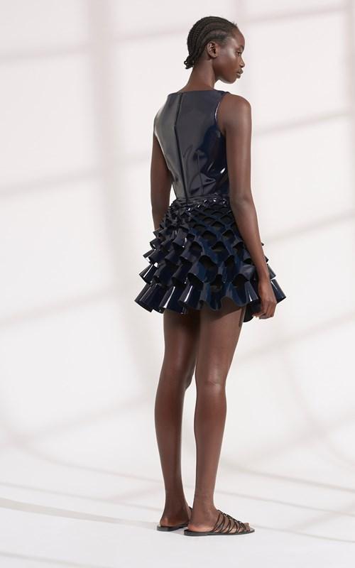 Dresses | PATENT WIRE SLASH RUFFLE MINI DRESS