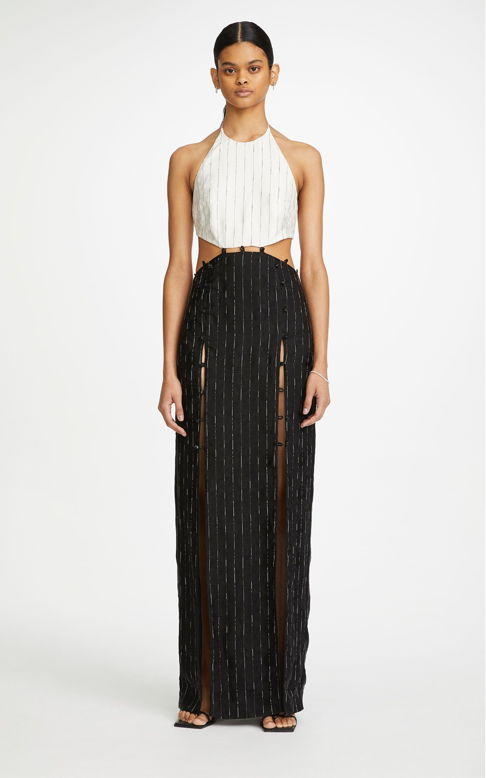 Dresses | PINSTRIPE TIE GOWN