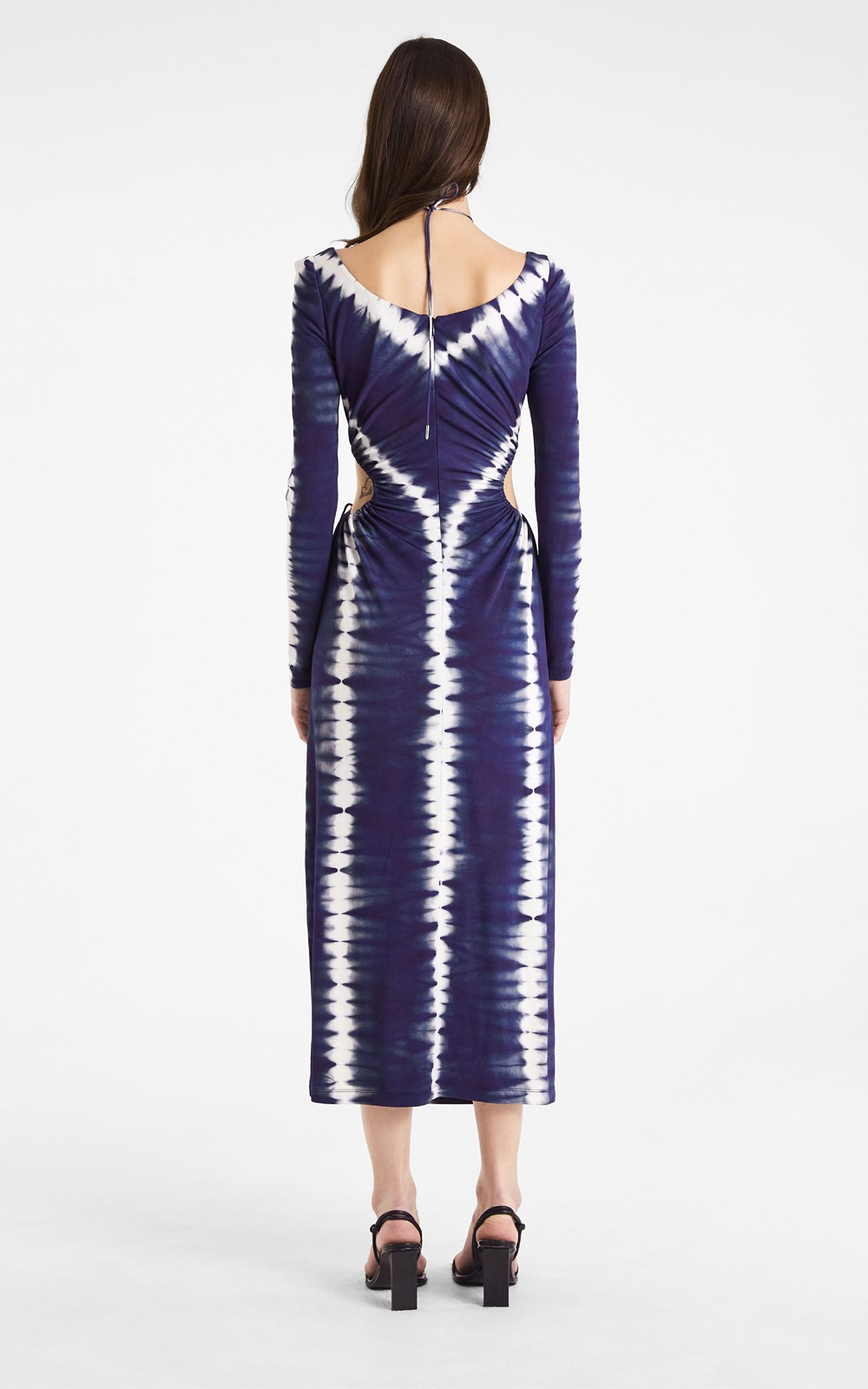 Dresses  | PRINTED SHIBORI DOUBLE TIE VISCOSE JERSEY GATHER DRESS