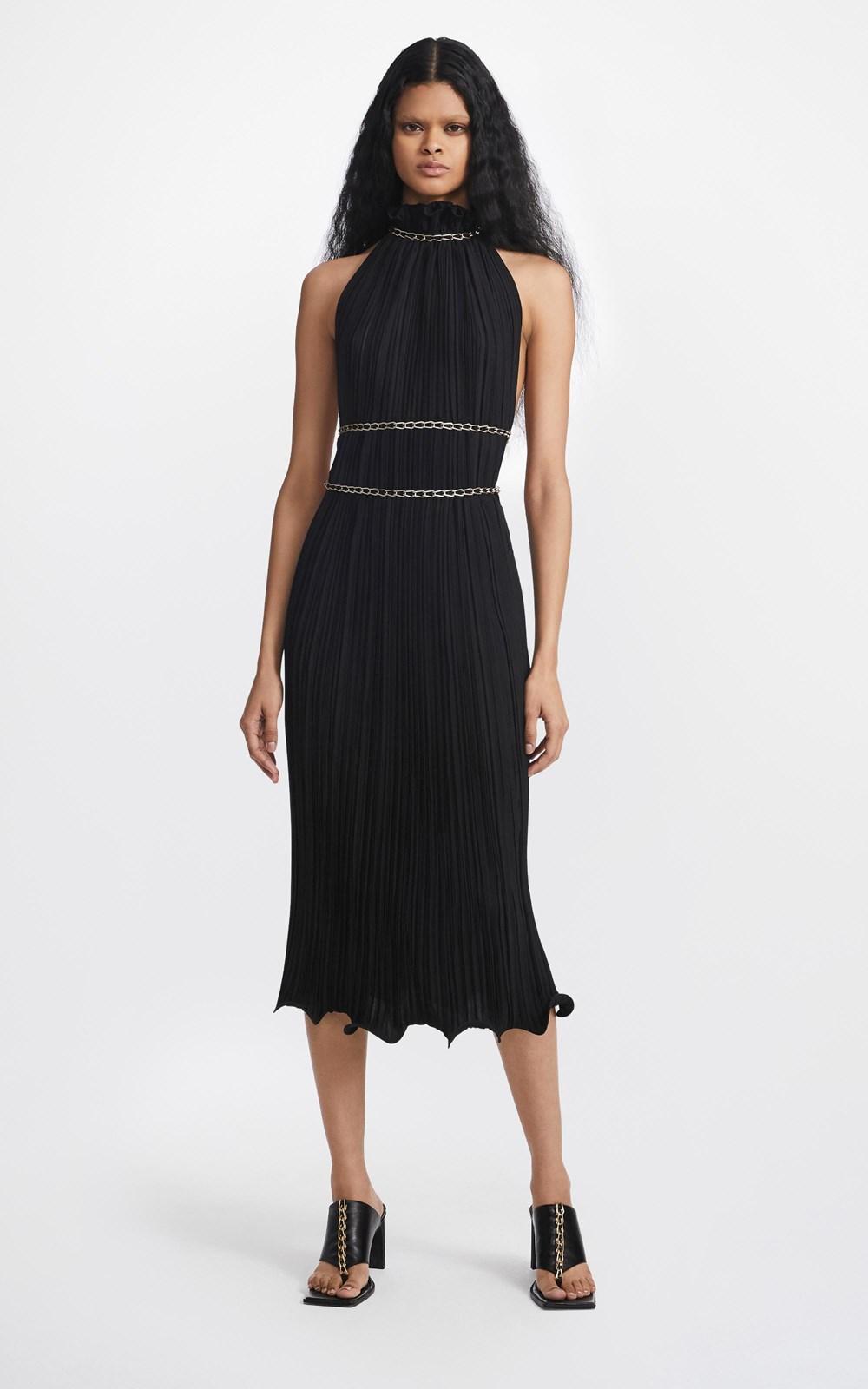 Dresses | CHAIN PLEAT HALTER DRESS