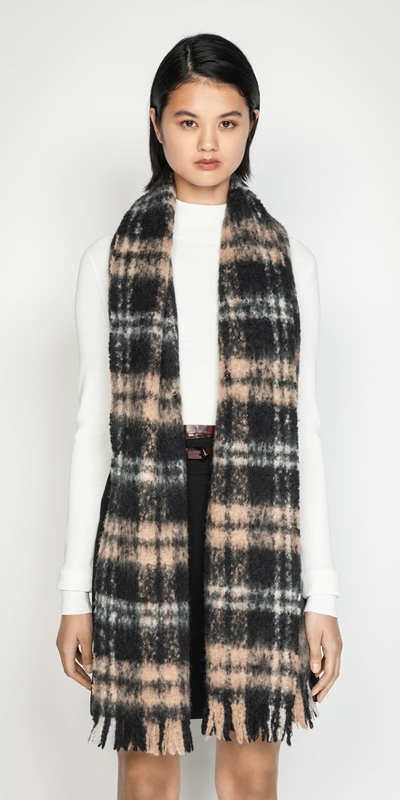 Sale  | Brushed Alpaca Check Scarf
