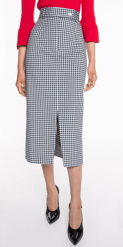 Sale  | Gingham Midi Skirt