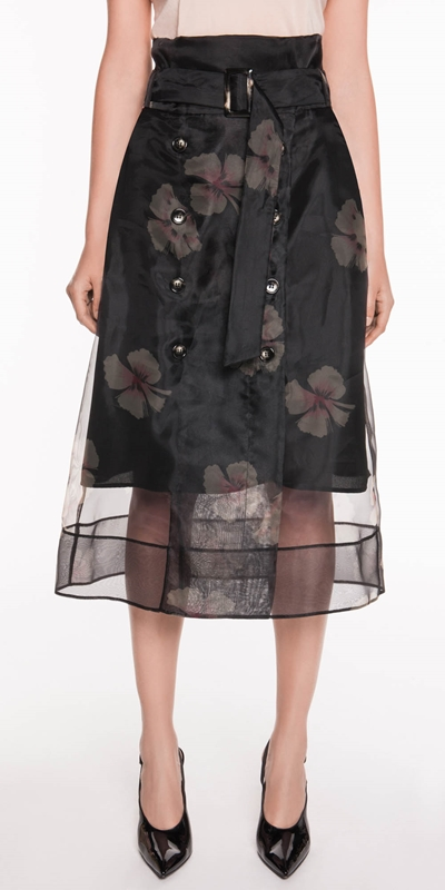 The Party Edit  | Hibiscus Organza Wrap Midi
