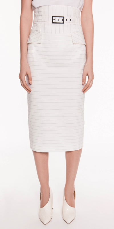Skirts  | Pinstripe Cotton Belted Skirt