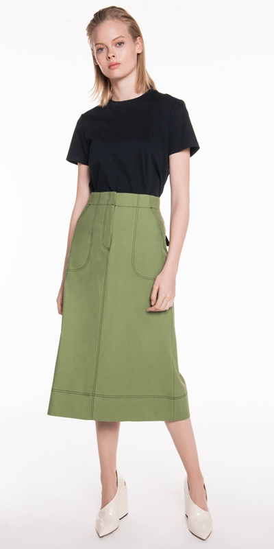 Skirts | Topstitched Long Line Skirt