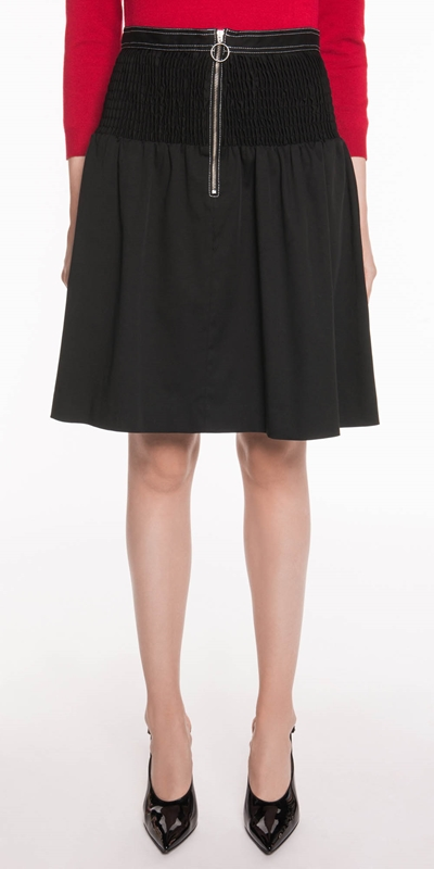 Sale  | Cotton Twill Shirred Skirt