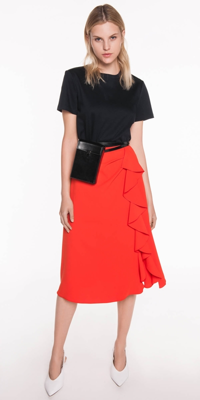 Skirts | Crepe Ruffle Skirt