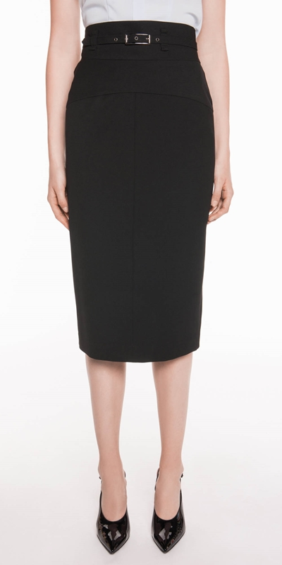 Skirts  | Twill Belted Pencil Skirt