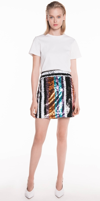 The Party Edit | Multi Stripe Sequin Skirt
