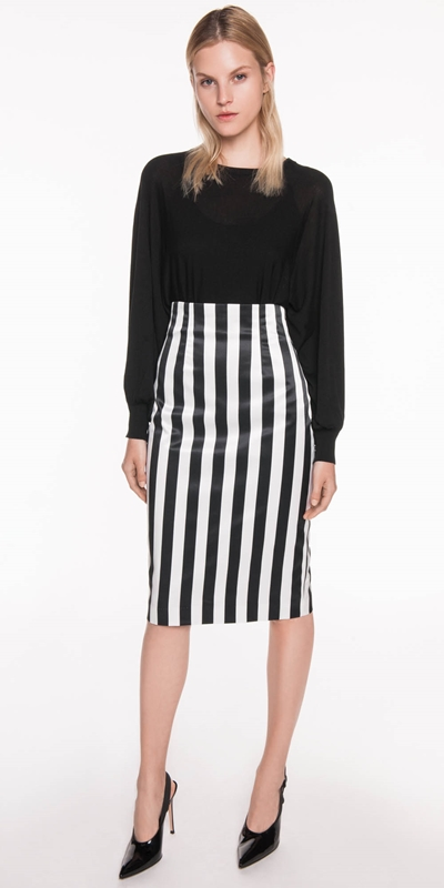Skirts | Stripe Satin Pencil Skirt