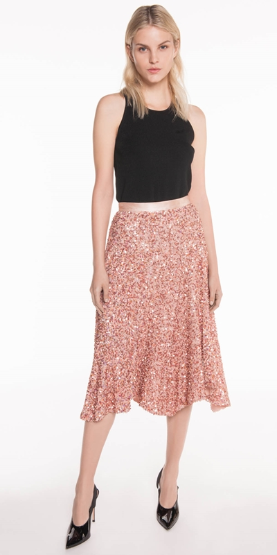Skirts | Sequin High Waisted Skirt