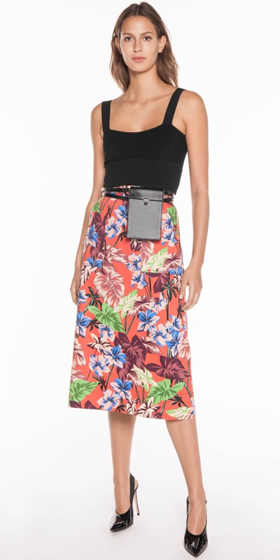 Sale | Hibiscus Palm Midi Skirt