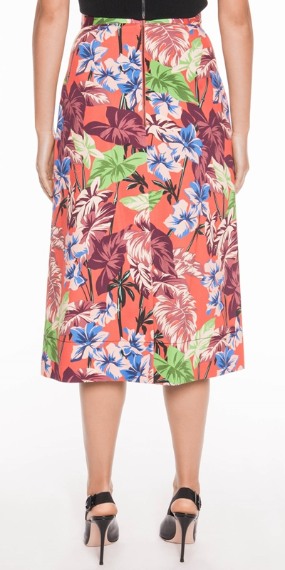 Skirts | Hibiscus Palm Midi Skirt